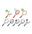 tennis racket logo set vector image