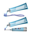 toothbrushes toothpaste and electric toothbrush vector image