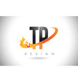tp t p letter logo with fire flames design and vector image vector image