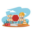 under construction zone vector image