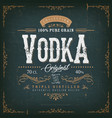 vintage vodka label for bottle vector image vector image