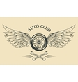 Wheels and wings vintage emblem vector image
