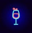 wine glass neon sign vector image