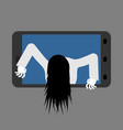 witch zombie from smartphone zombie girl comes vector image vector image