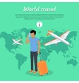 World Travel Concept Web Banner Man with Baggage vector image vector image