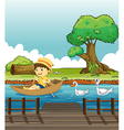 A boy riding on a boat followed by ducks vector image vector image