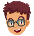A head of a boy with an eyeglass vector image