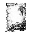 a parchment vintage scroll with pen and inkwell vector image