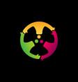 abstract people circle three characters logo vector image vector image