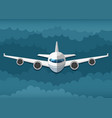 airplane flies in the clouds vector image vector image