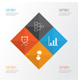 authority icons set collection of bar chart