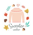 autumn greeting card with sweater vector image vector image