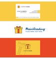 beautiful giftbox logo and business card vertical vector image