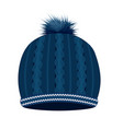 blue knitted winter hat vector image vector image
