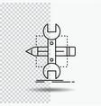 build design develop sketch tools line icon on vector image vector image