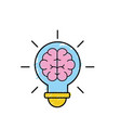 bulb with brain inside to creative design vector image vector image