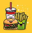 burger and french fries with soda kawaii character vector image vector image