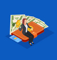 businesswoman sitting on purse with money and vector image vector image