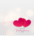 card design of two love hearts for valentines day vector image vector image
