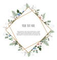 card with flowers and geometrical frame floral vector image vector image