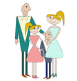 Cartoon family of four person vector image