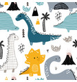 childish seamless pattern with hand drawn dino in vector image vector image