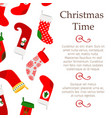 christmas banner with decorative socks vector image vector image