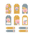 christmas tags cute collection labels with funny vector image