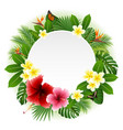 circle blank sign with flowers leaves background vector image