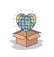 color image background globe earth world in heart vector image vector image