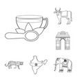 country india outline icons in set collection for vector image