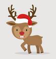 cute deer with red hat cartoon vector image vector image