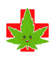 cute funny smiling happy marijuana weed vector image vector image