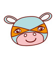 cute hippopotamus head with costume mask vector image