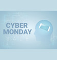cyber monday banner with silhouette head and vector image vector image