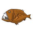 deep sea fish sketch doodle vector image vector image