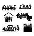 family activities time at home stick figures vector image vector image