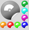 Fan icon sign Set of eight multi colored round vector image vector image