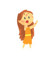 frightened girl with long hair with rash on her vector image vector image
