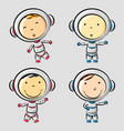 funny little astronaut in differences poses vector image vector image
