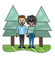 grated cute couple together with casual clothes vector image