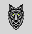 grey wolf face simetric theme vector image vector image