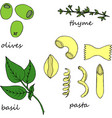 hand drawn of pasta ingredients vector image