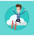 Happy businessman sitting on the cloud vector image
