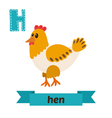Hen H letter Cute children animal alphabet in vector image vector image
