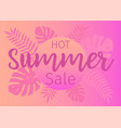 hot summer sale banner with tropical leaves vector image vector image