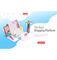 isometric landing page for creative vector image vector image