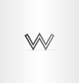 letter w black logo icon vector image