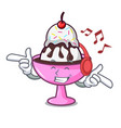 listening music ice cream sundae mascot cartoon vector image vector image