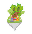 little lion and hippo with party hat vector image vector image